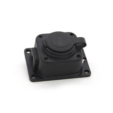 Gniazdo gumowe (TPE) pojedyncze schuko 16A 2P+Z, kolor czarny, IP44 TRG-1SCH
