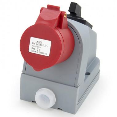Gniazdo siłowe stałe kombi 16A/4P + wyłącznik 0-1 + zabezpieczenie topikowe, ELS Elektrotechnika, N010-01/4P